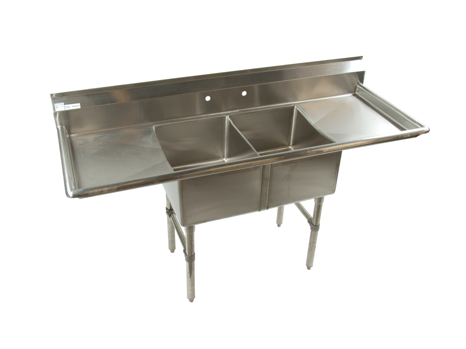 2 compartment stainless steel restaurant sink