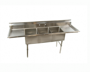 3 compartment stainless steel sink
