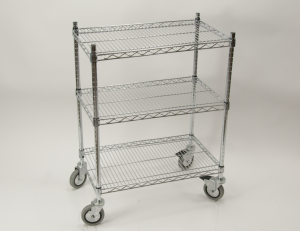 commercial restaurant wire shelving cart chrome