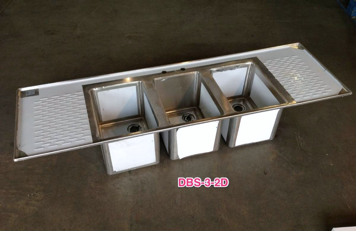 stainless steel drop in bar sink 3 compartment